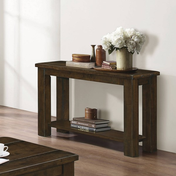Rustic Pecan Solid Asian Hardwood One Storage Shelf Sofa Table CST-704749