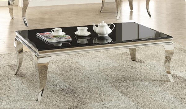 Coaster Furniture Black Glass Metal Coffee Table CST-705018