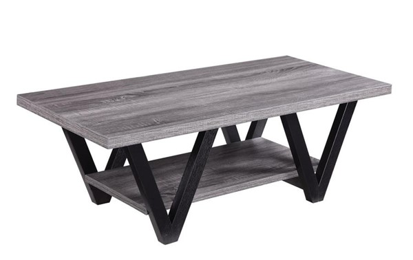 Coaster Furniture Black Gray Storage Shelves Coffee Table CST-705398