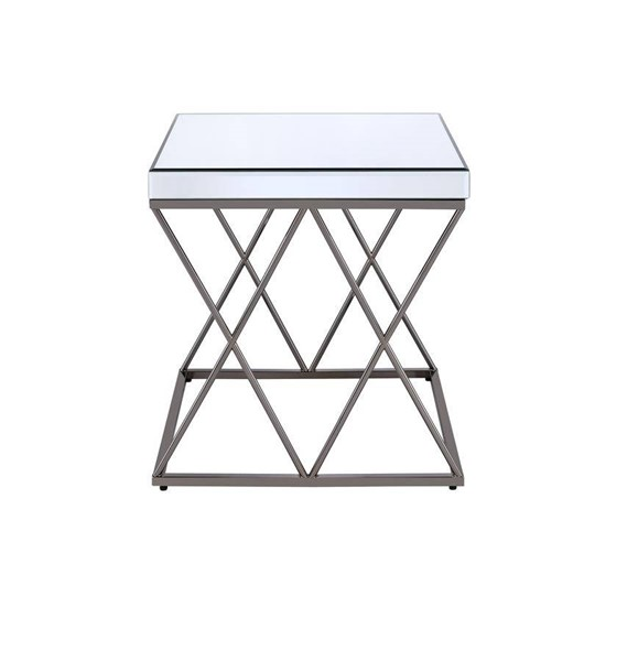 Coaster Furniture Mirror Top Black Nickel Base Square End Table CST-705477