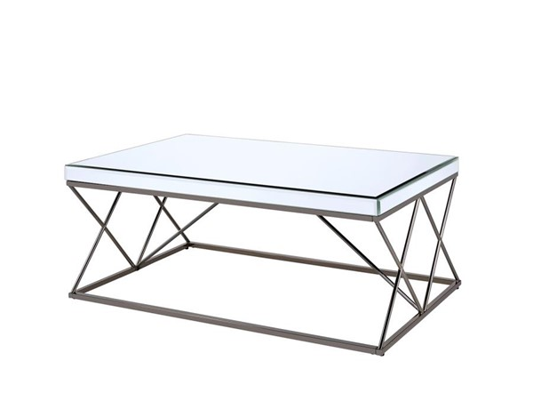 Coaster Furniture Mirror Top Black Nickel Base Rectangle Coffee Table CST-705478