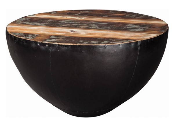 Coaster Furniture Natural Wood Top Black Iron Base Round Coffee Table CST-705538