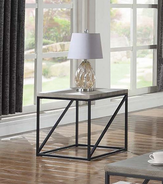 Coaster Furniture Grey Wood Top Metal Base Square End Table CST-705617