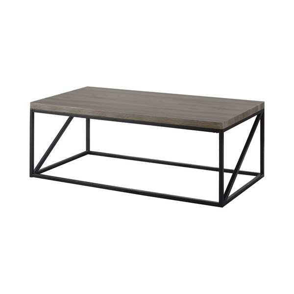 Coaster Furniture Grey Wood Top Metal Base Rectangle Coffee Table CST-705618