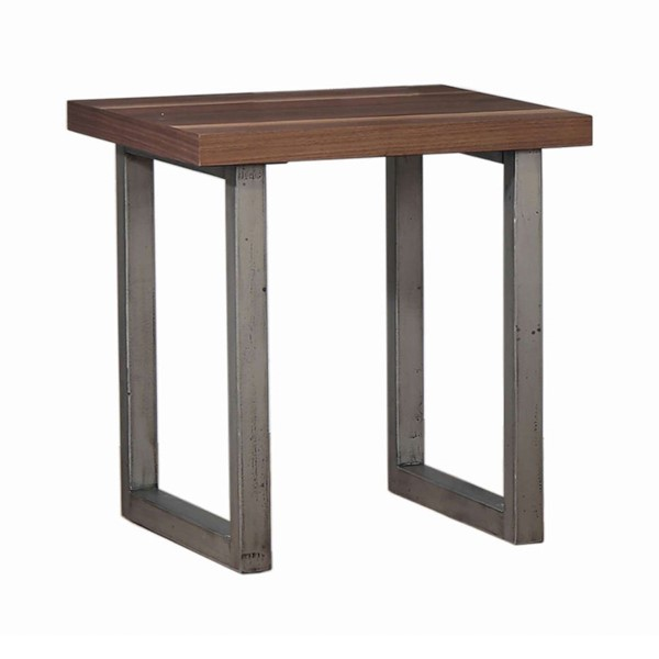 Coaster Furniture Walnut Espresso Wood Top Metal Base End Table CST-705647