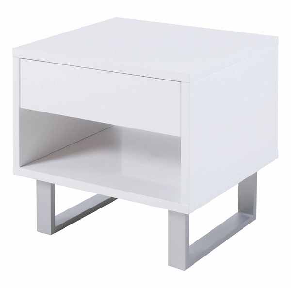 Coaster Furniture White Drawer and Shelf Rectangle End Table CST-705697