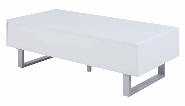 Coaster Furniture White Two Side Drawer Rectangle Coffee Table CST-705698