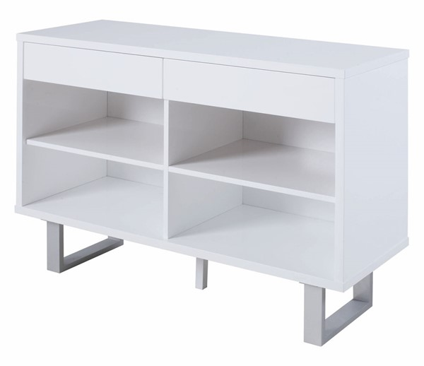 Coaster Furniture White Two Drawer and Four Shelf Sofa Table CST-705699