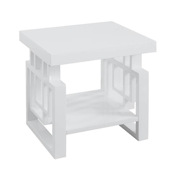 Coaster Furniture White Wood One Shelf Rectangle End Table CST-705707