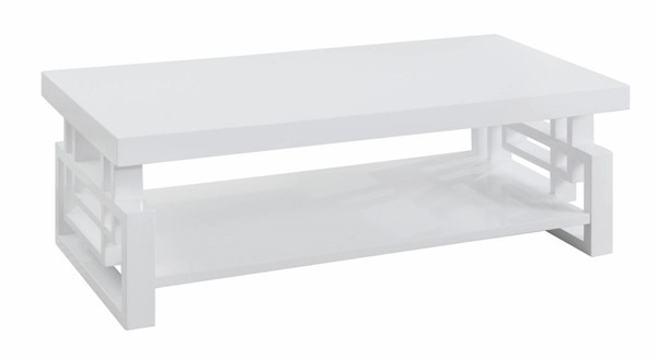 Coaster Furniture White Wood One Shelf Rectangle Coffee Table CST-705708