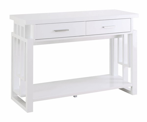 Coaster Furniture White Wood Two Drawer and One Shelf Sofa Table CST-705709
