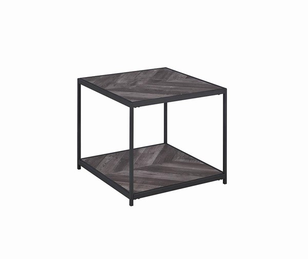 Coaster Furniture Rustic Grey Herringbone End Table CST-708167