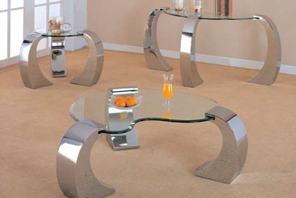 Chrome Metal Glass Legs 3pc Coffee Table Set CST-720057-S
