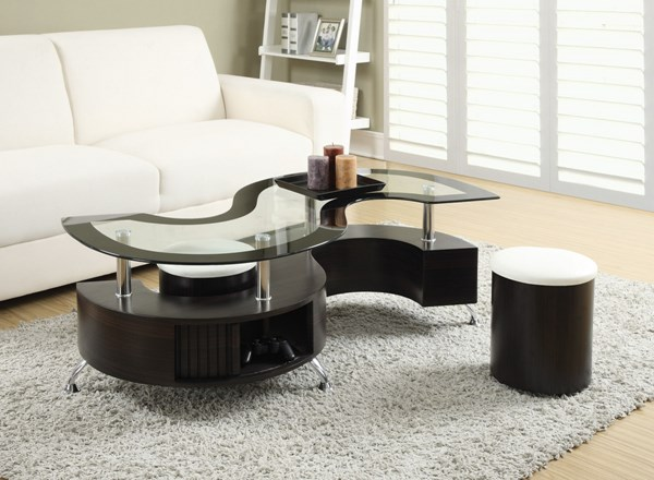 Coaster Furniture Cappuccino Wood Glass Storage Coffee Table Set CST-720218