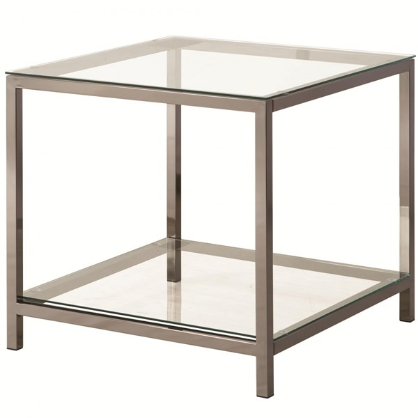Contemporary Black Nickel Glass Metal End Table w/Shelf CST-720227