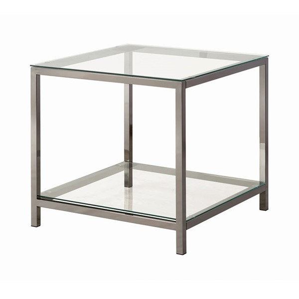 Coaster Furniture Black Nickel Glass End Table CST-720227