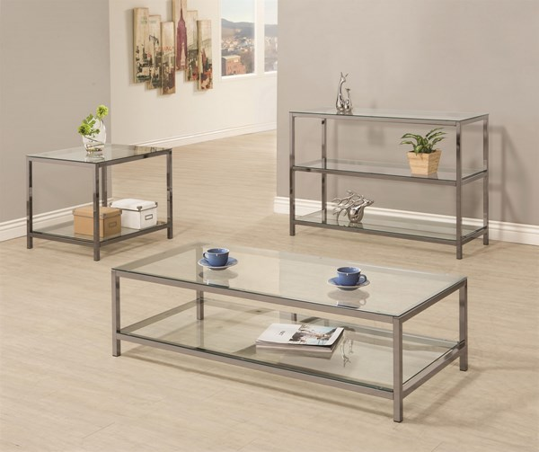 Contemporary Black Nickel Glass Metal 3pc Coffee Table Set CST-720227-8-9-OCT-S