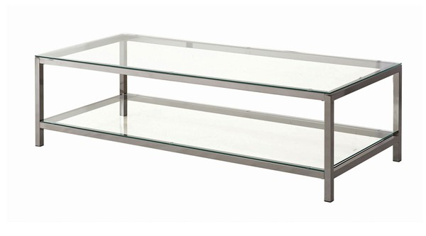 Coaster Furniture Black Nickel Glass Coffee Table CST-720228