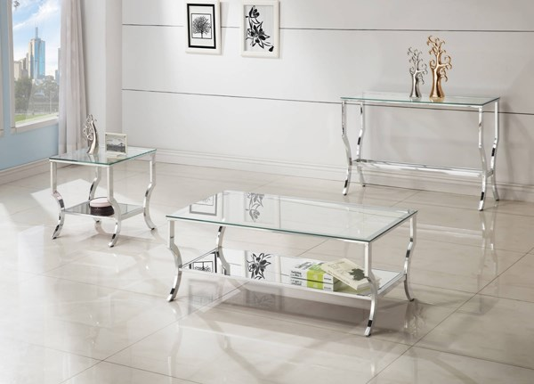 Contemporary Chrome Metal Tempered Glass Top 3pc Coffee Table Set CST-72033-OCT-S1