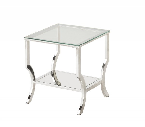 Contemporary Chrome Metal Cleared Tempered Glass Top End Table CST-720337