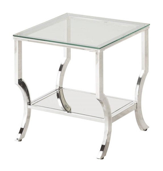 Coaster Furniture Chrome Metal Cleared Tempered Glass Top End Table CST-720337
