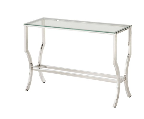 Contemporary Chrome Metal Cleared Tempered Glass Top Sofa Table CST-720339