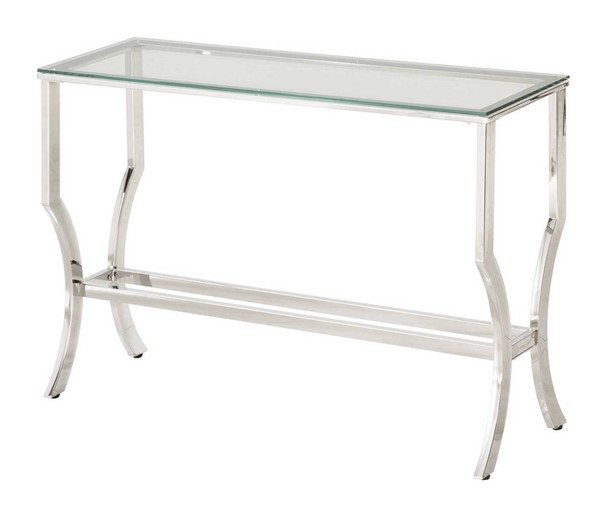 Coaster Furniture Chrome Metal Cleared Tempered Glass Top Sofa Table CST-720339