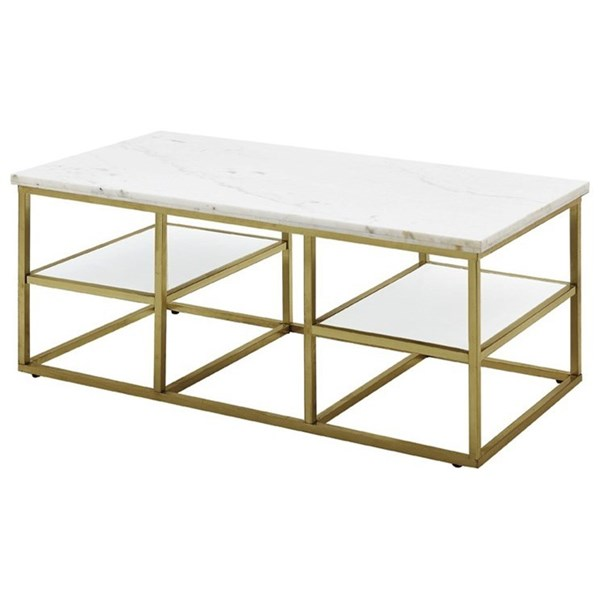 White Brushed Brass Marble Glass Coffee Table