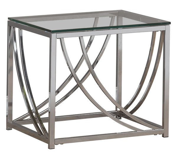Coaster Furniture Chrome Glass Metal End Table CST-720497