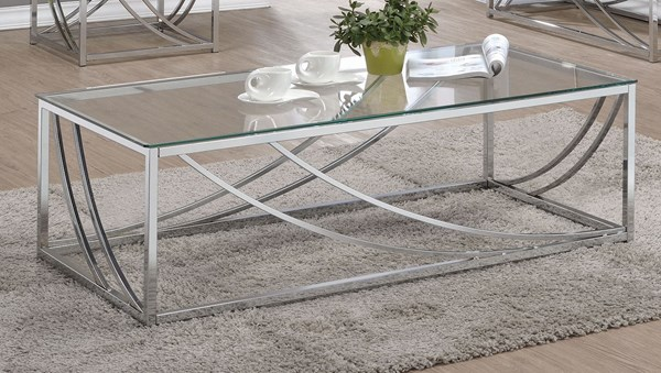 Coaster Furniture Chrome Glass Metal Coffee Table CST-720498
