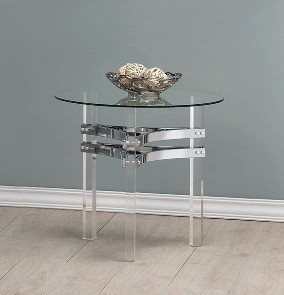 Coaster Furniture Clear Glass Acrylic Legs End Table CST-720707