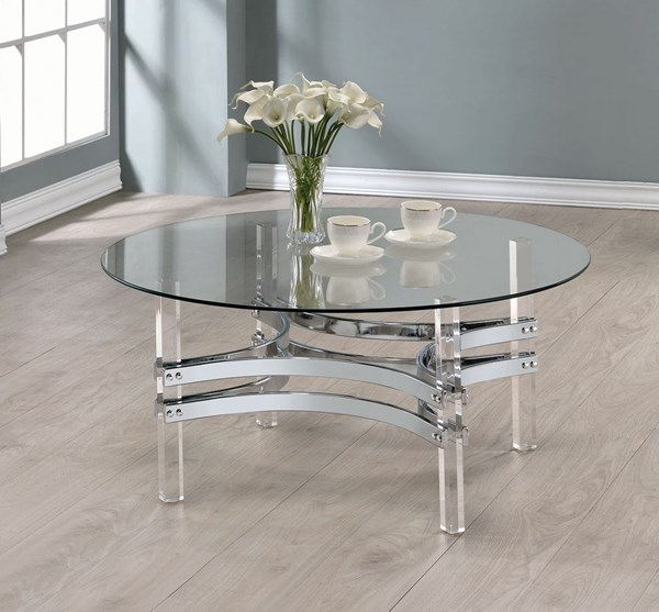 Coaster Furniture Clear Glass Acrylic Legs Coffee Table