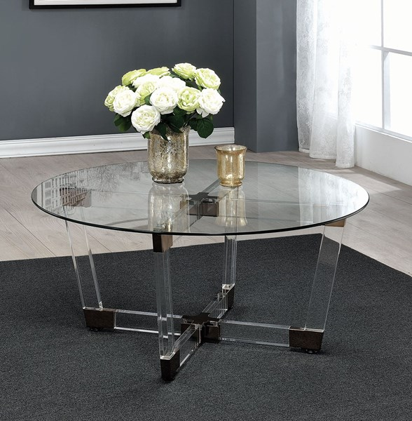 Coaster Furniture Clear Glass Acrylic Coffee Table
