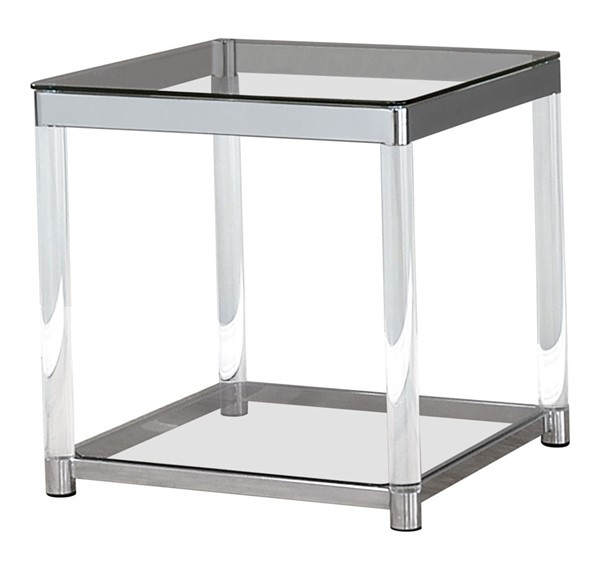 Coaster Furniture Clear Glass Acrylic Square End Table CST-720747
