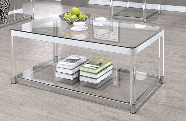 Coaster Furniture Clear Glass Acrylic Rectangle Coffee Table CST-720748