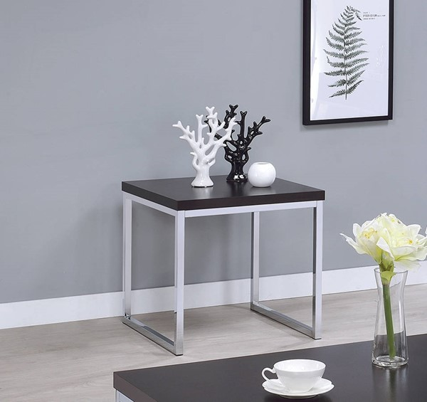Coaster Furniture Cappuccino Wood Top Sled Base End Table CST-721027