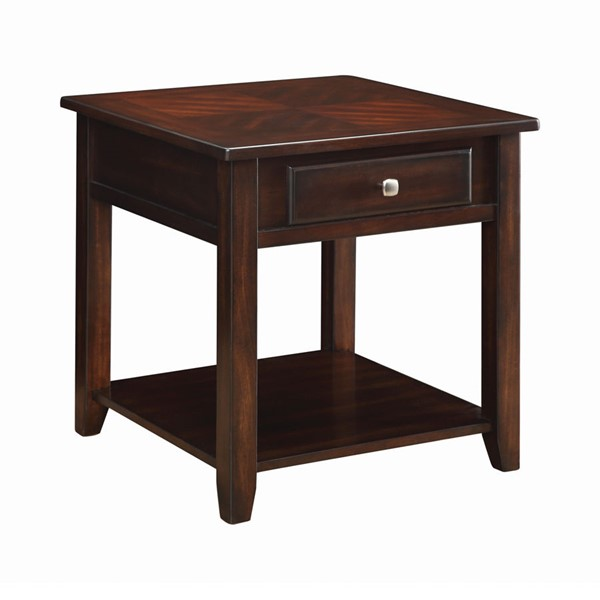 Coaster Furniture Walnut Wood Shelf and Drawer End Table CST-721037