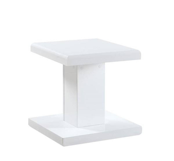 Coaster Furniture White Wood Swivel Top End Table