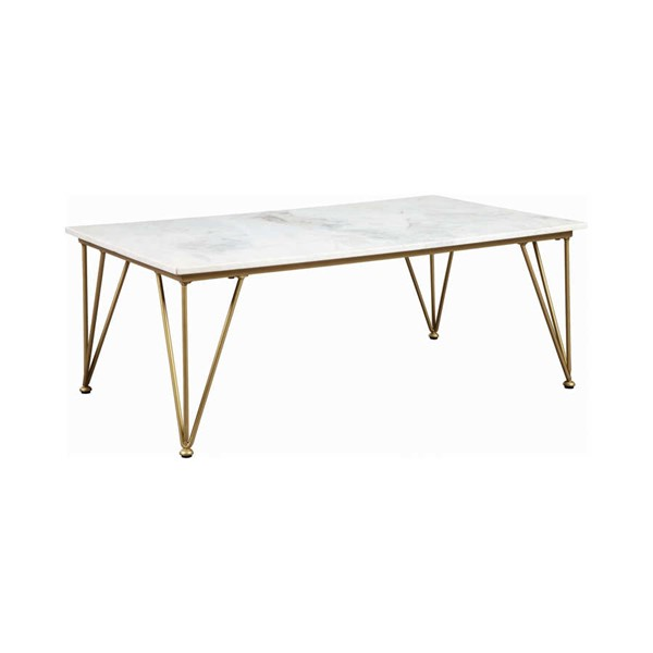 Coaster Furniture Becca White Gold Coffee Table CST-721458