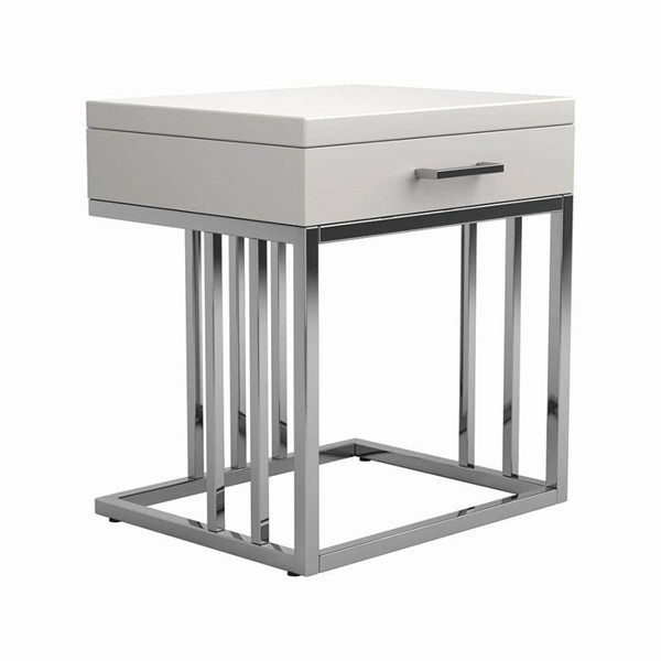 Coaster Furniture Glossy White End Table CST-723137