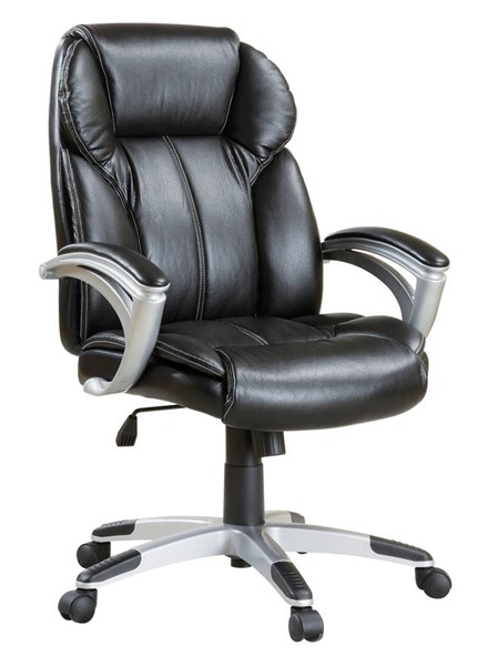 Coaster Furniture Black Silver Faux Leather Office Chair CST-800038