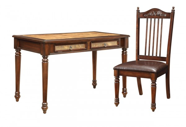 Traditional Brown Red Wood Desk & Chair Set CST-800079