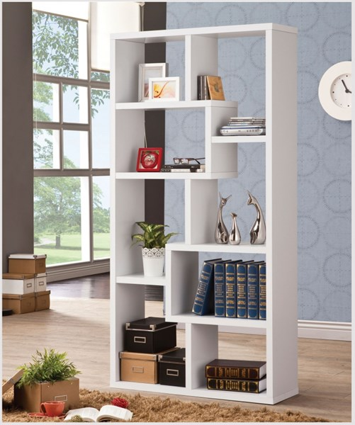 Casual White Wood Wall Recessed Bookcase CST-800136