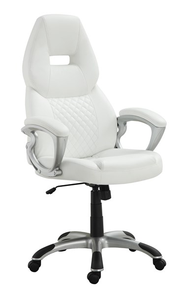 Contemporary Silver White Faux Leather Metal Bucket Seat Office Chair CST-800150