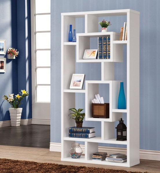 Casual White Wood Fixed Shelves Bookcase CST-800157