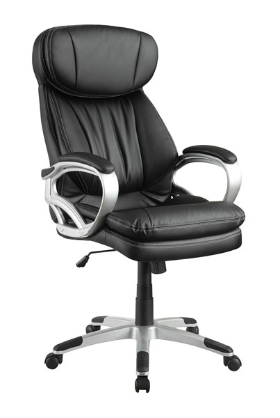 Coaster Furniture Silver Black Faux Leather Office Chair CST-800165