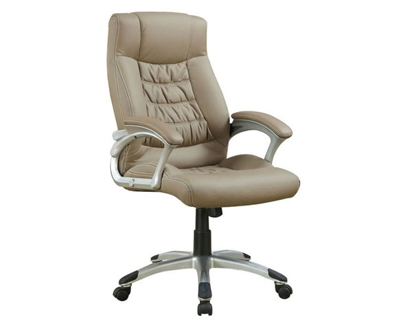 Beige Silver Metal Leatherette Office Chair CST-800205