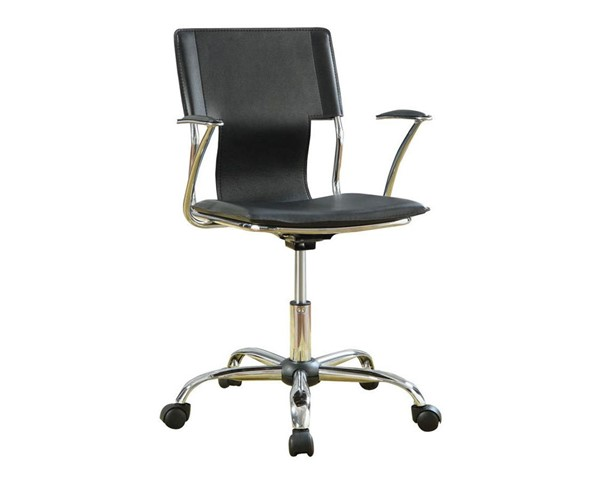Contemporary Chrome Black Metal Fabric Office Chair CST-800207