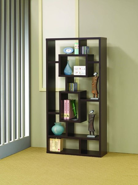 Contemporary Cappuccino Wood Wall Recessed Book Shelf CST-800259