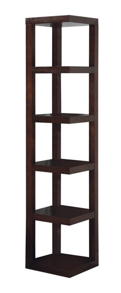 Coaster Furniture Cappuccino Wood 5 Shelves Corner Bookcase CST-800268